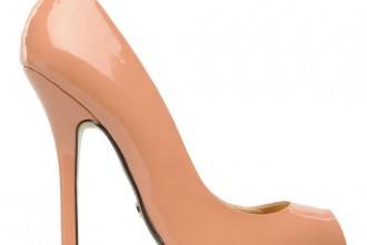 peach patent peep toes
