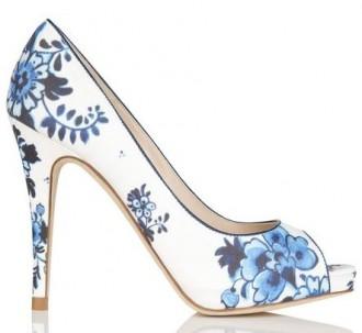 blue floral print peep toes