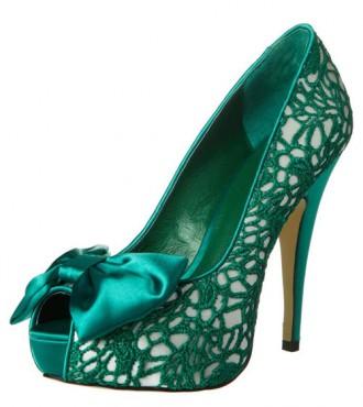 green bow peep toe shoes