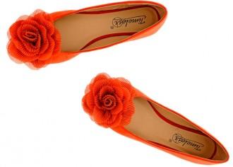 bruight orange ballet flats with flower detail