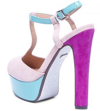 platform sandals with purple heels and blue platfform