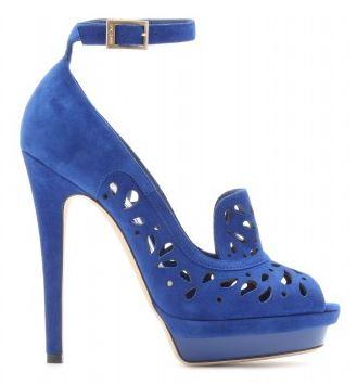 blue laser cut high heel shoes
