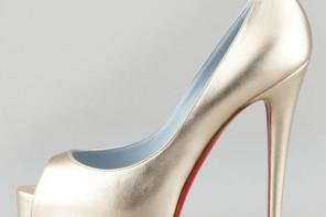 metallic platform peep toes by Christian Louboutin