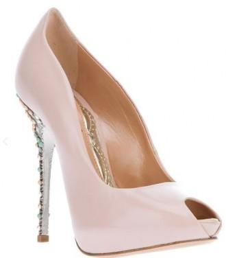 pink peep toe shoes by Aruna Seth