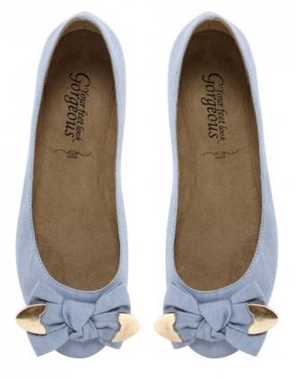 blue bow ballet flats