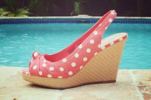 coral polka dot flats