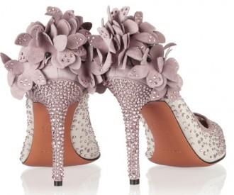 lilac floral heels