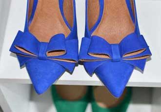 blue bow shoes