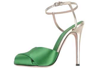 green satin sandals