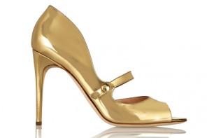 Rupert Sanderson Zelena metallic leather Mary Jane pumps