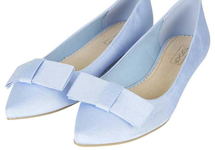 Topshop 'Villa' pale blue grossgrain bow flats