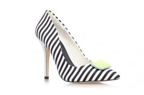 stripe high heel court shoes