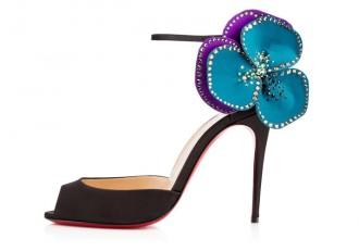 Christian Louboutin 'Pensamoi' silk flower peep toes