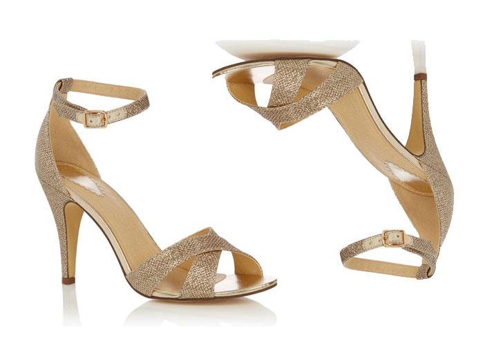 gold cross-front sandals