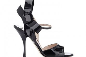 Miu Miu black patent bow sandals