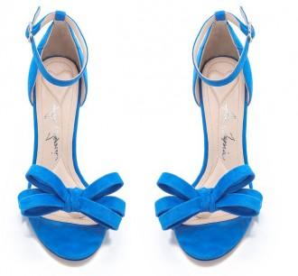 blue bow sandals
