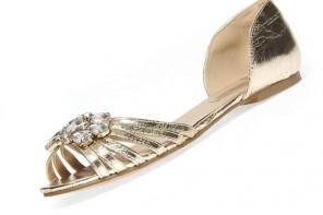 Dorothy Perkins gold gem detail open pumps