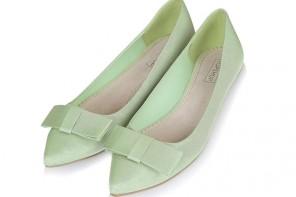 Topshop green bow flats