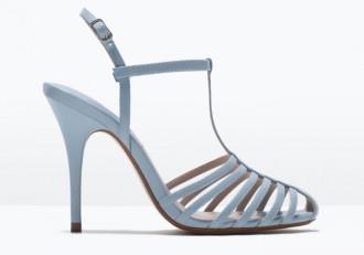 Zara pale blue cage sandals