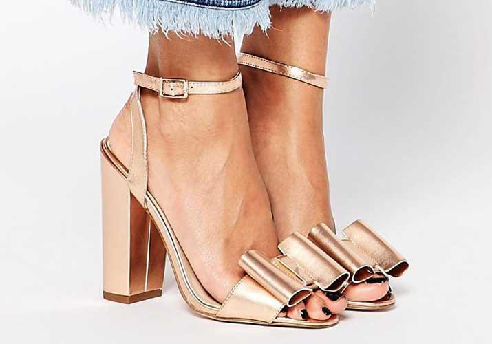 ASOS 'Harmony' gold heeled bow sandals