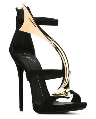 Giuseppe Zanotti black and gold strappy sandals