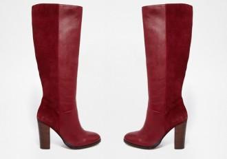 Faith Dark Red Knee Boots