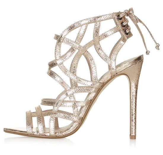 Topshop 'Resort' metallic strappy sandals