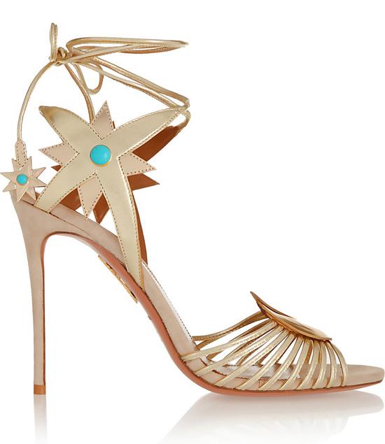 Aquazzura + Poppy Delevingne Midnight metallic leather sandal