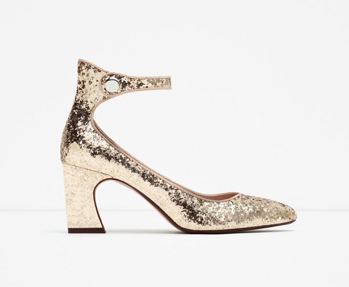 Zara gold glitter mid heel shoes