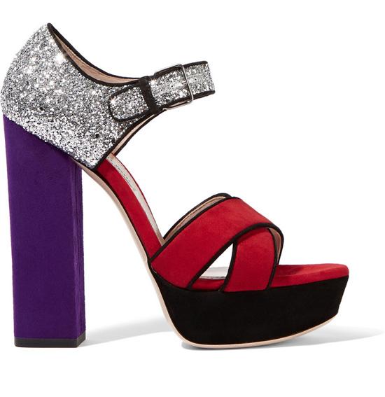 Miu Miu purple and red sandals