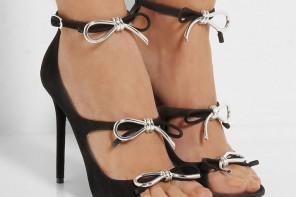 Balenciaga bow-embellished suede sandals
