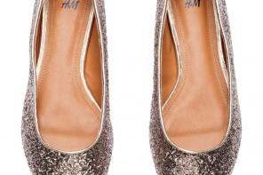 gold glitter ballet pumps