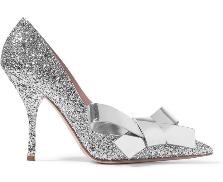 silver glitter miu miu shoes