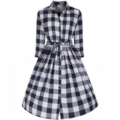 Lindy Bop 'Charlotte' Navy Gingham Day Dress