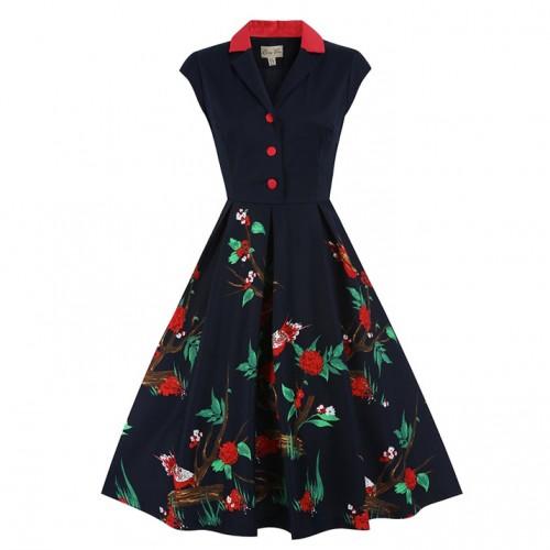 'Gilda' Navy Bird Print Swing Dress