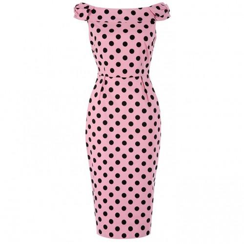 Lindy Bop 'Tabby' Pink Polka Dot Off Shoulder Wiggle Dress