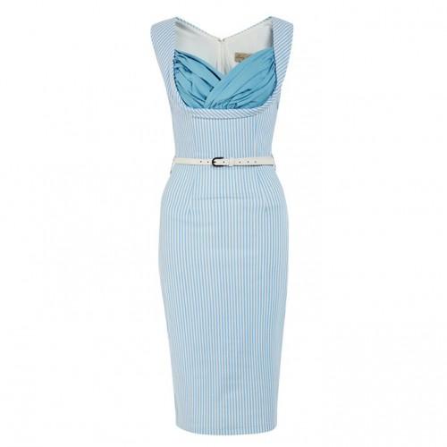 'Vanessa' Candy Blue Stripe Wiggle Dress