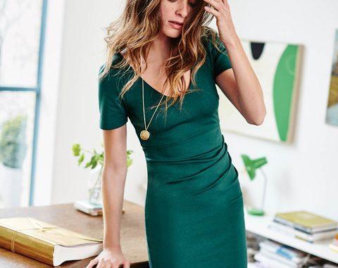 green jersey dress