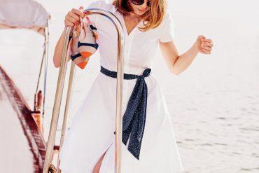 Boden white shirt dress