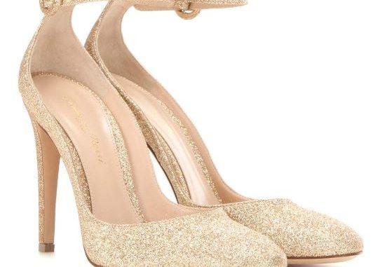 Gianvito Rossi gold glitter ankle strap pumps