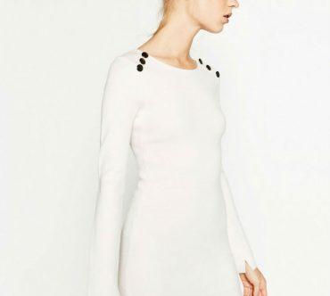 white button shoulder dress