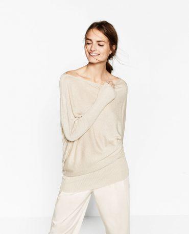 Zara gold asymmetric sweater