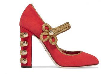 DOLCE & GABBANA Embellished suede Mary Jane pumps