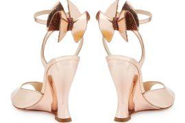 Sophia Webster Rizzo Bow Metallic Wedge Sandals
