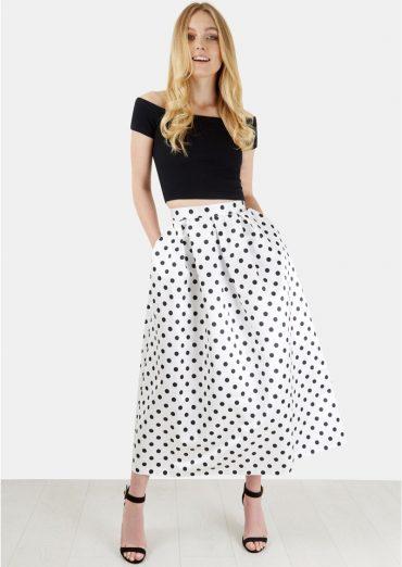 Closet Black and White polka dot skirt