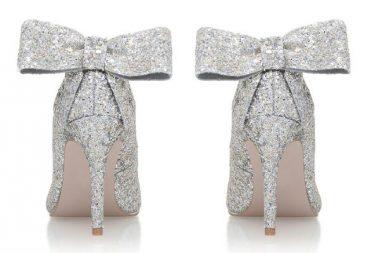 Miss KG silver glitter bow heels