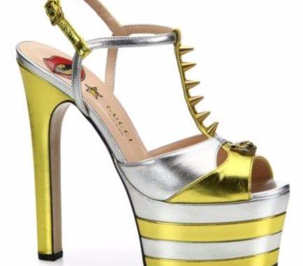 Gucci Angel Metallic Leather Peep-Toe Platform T-Strap Sandals