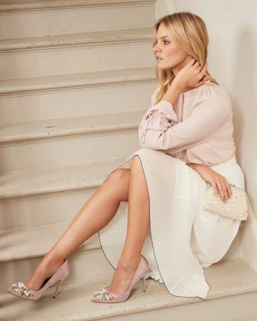 Next blush embellished court shoes