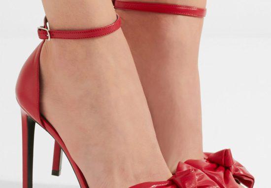 Saint Laurent red bow embellished sandals