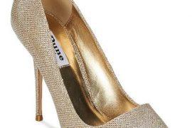 Dune 'bella' gold court shoes
